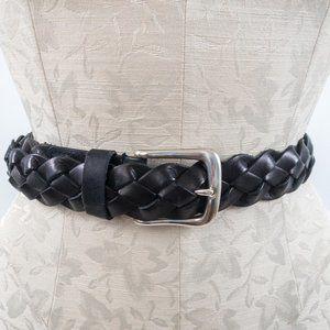 Vintage M Leather Braided Belt Black